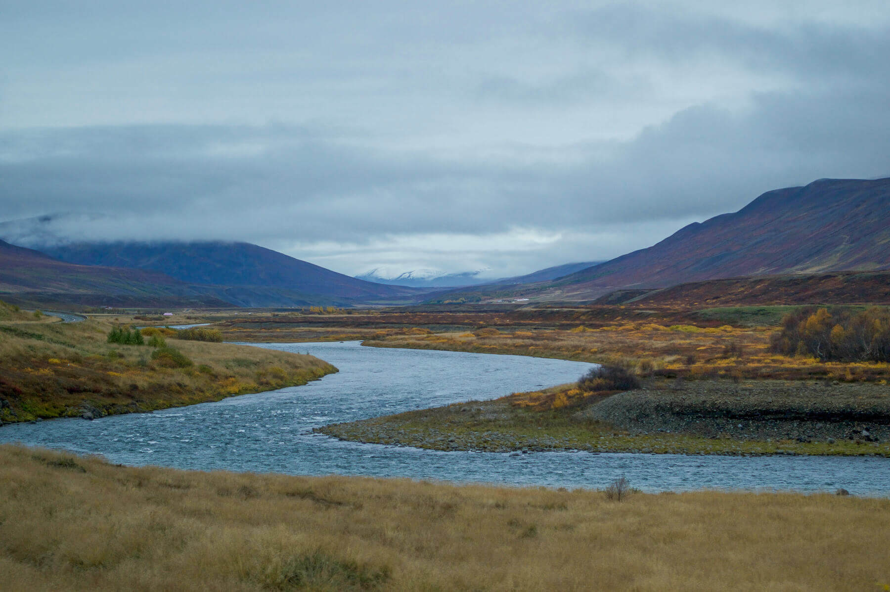 river in iceland flowing into distance