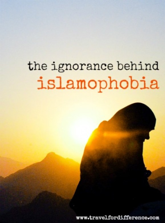 Muslim woman backlit by sunset with text overlay - The Ignorance Behind Islamophobia