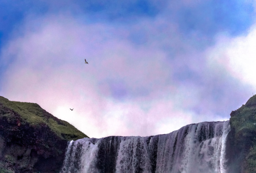 2 Birds flying above Waterfall