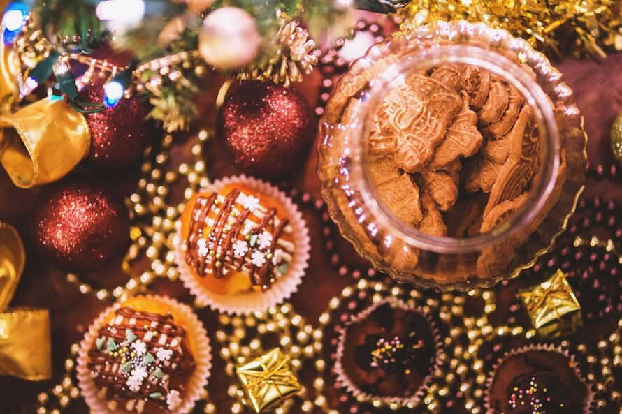 Christmas cookies and festive treats at christmas