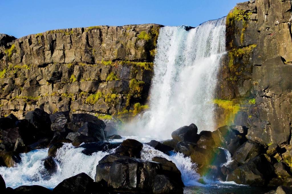 Pingvallir Waterfall with rainbow