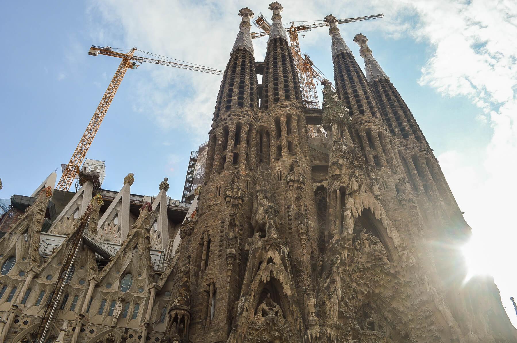 view of huge intricate chapel - sagrada familia