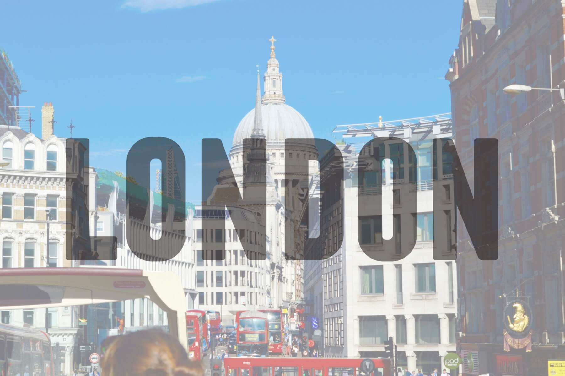 'LONDON' (Red bus and city scape)