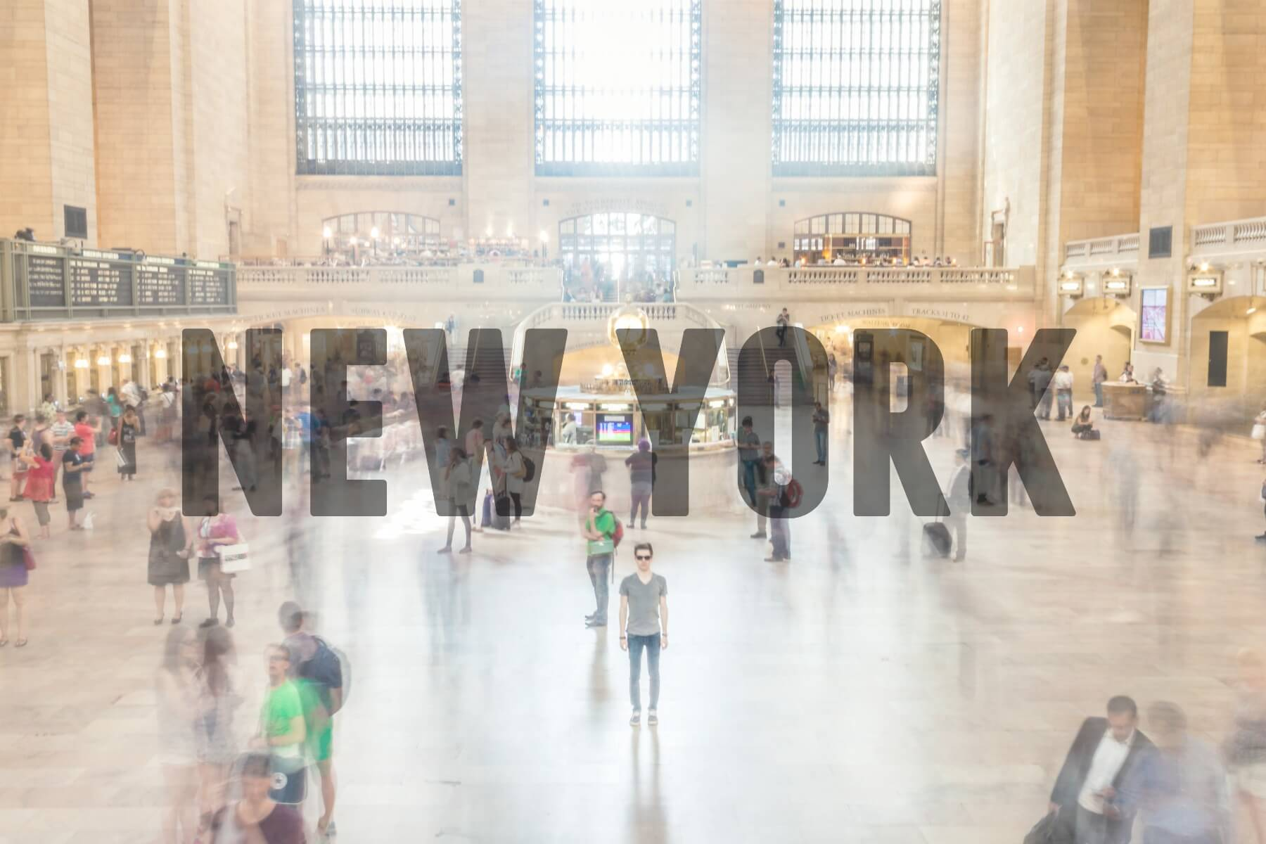Inside Grand Central Station, New York with text overlay - New York