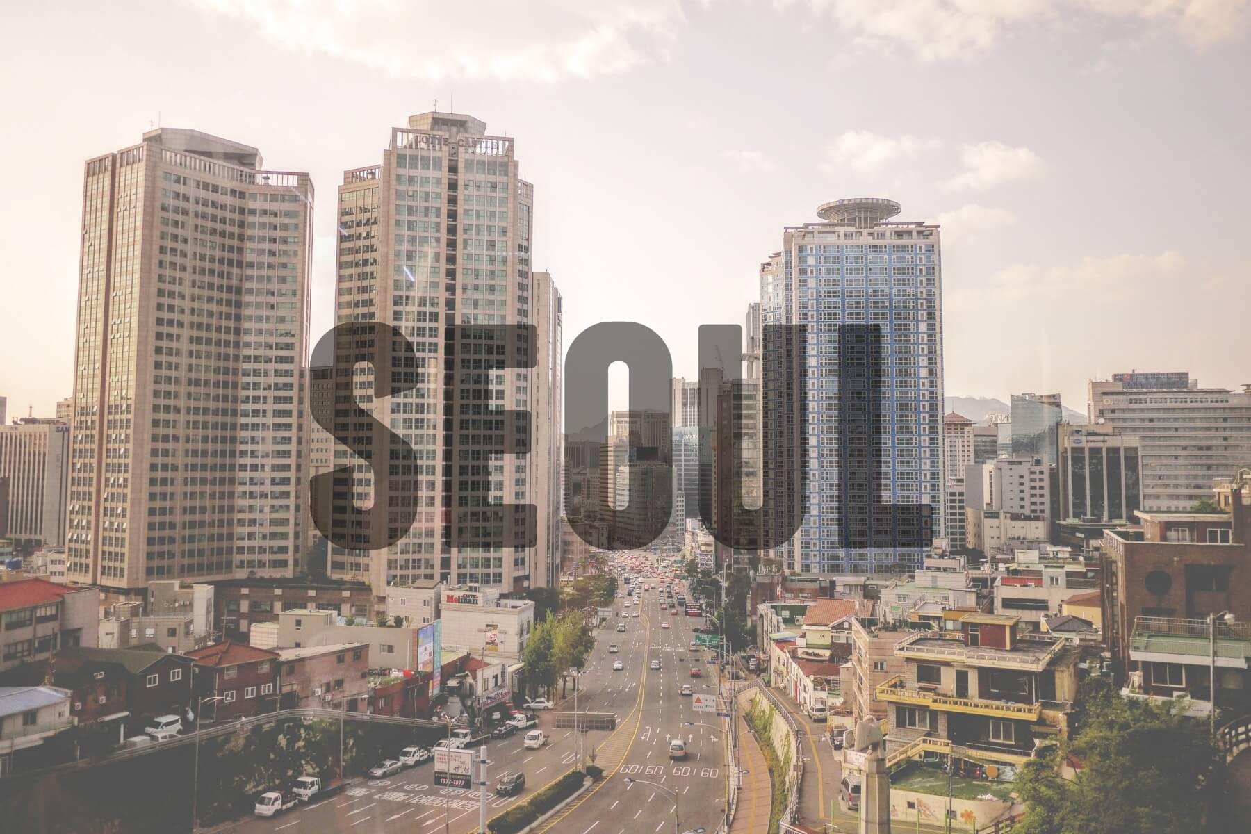 "Seoul city scape with text overlay - ""Seoul"""