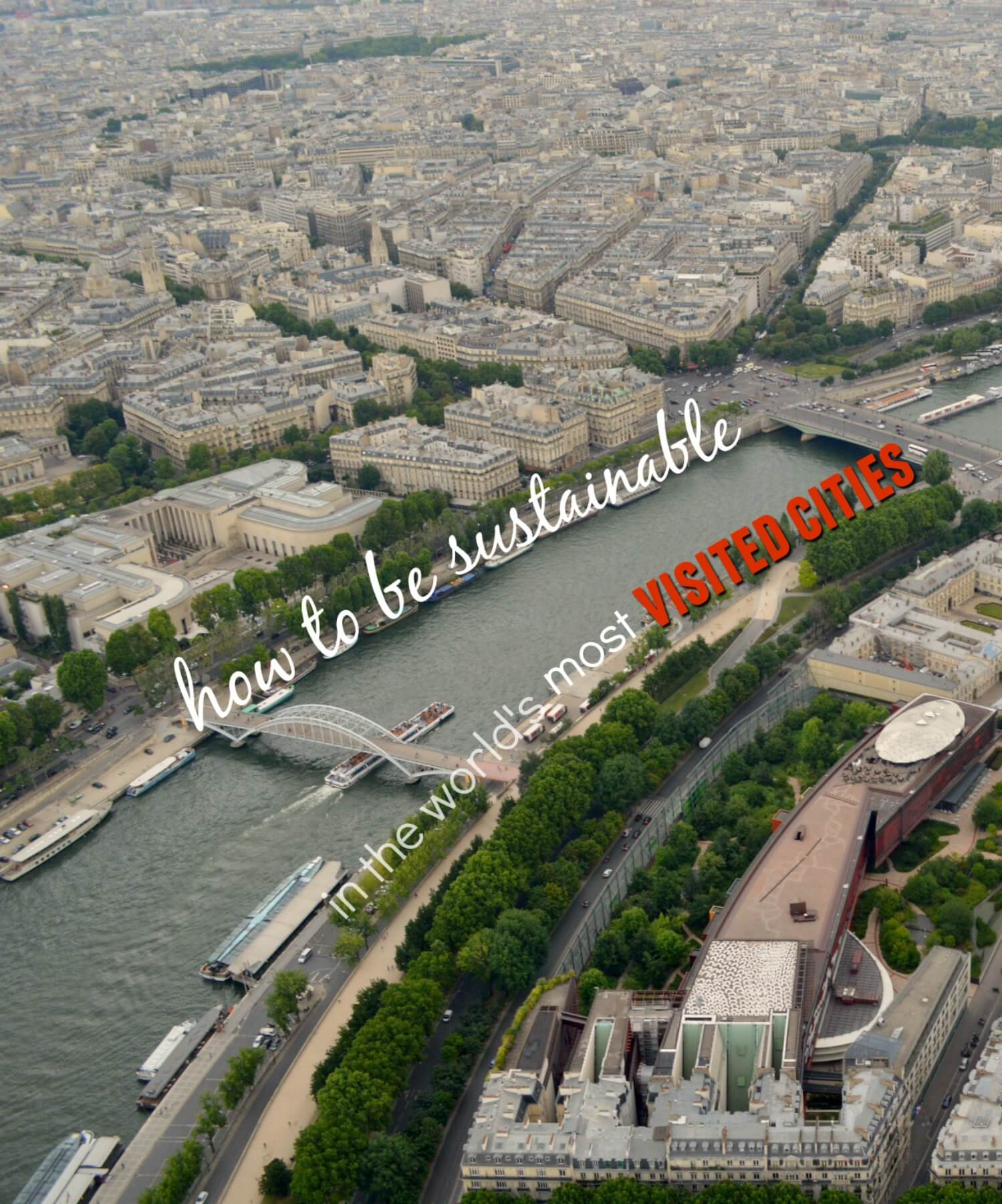 Looking over Paris with text overlay - How to be Sustainable in the world's most Visited Cities