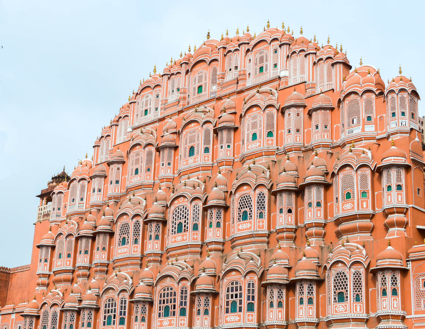Famous copper palace in Jaipur - Orange structure with white detailed windows