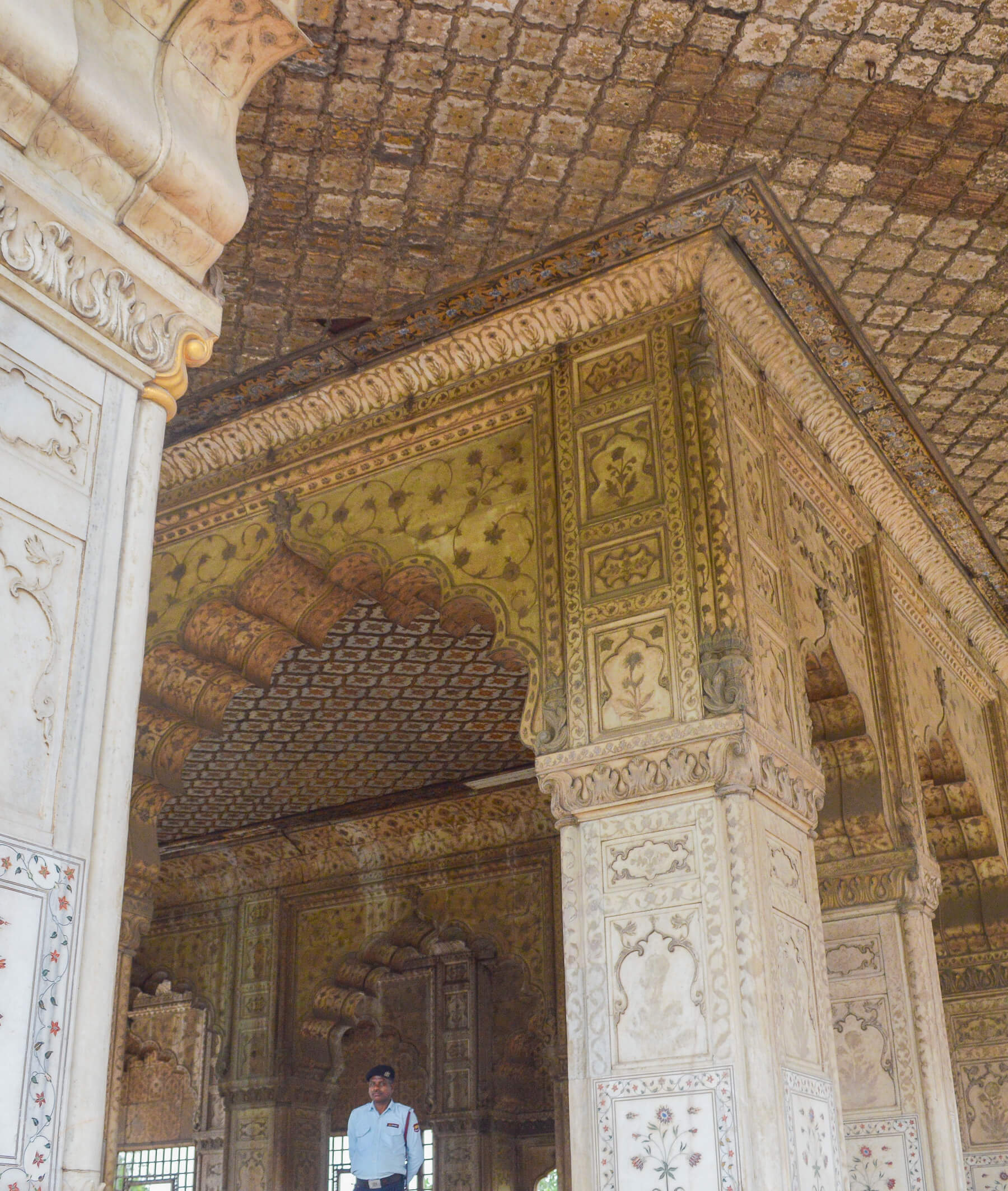 Tiled walls, pillars and ceilings in a Indian palace