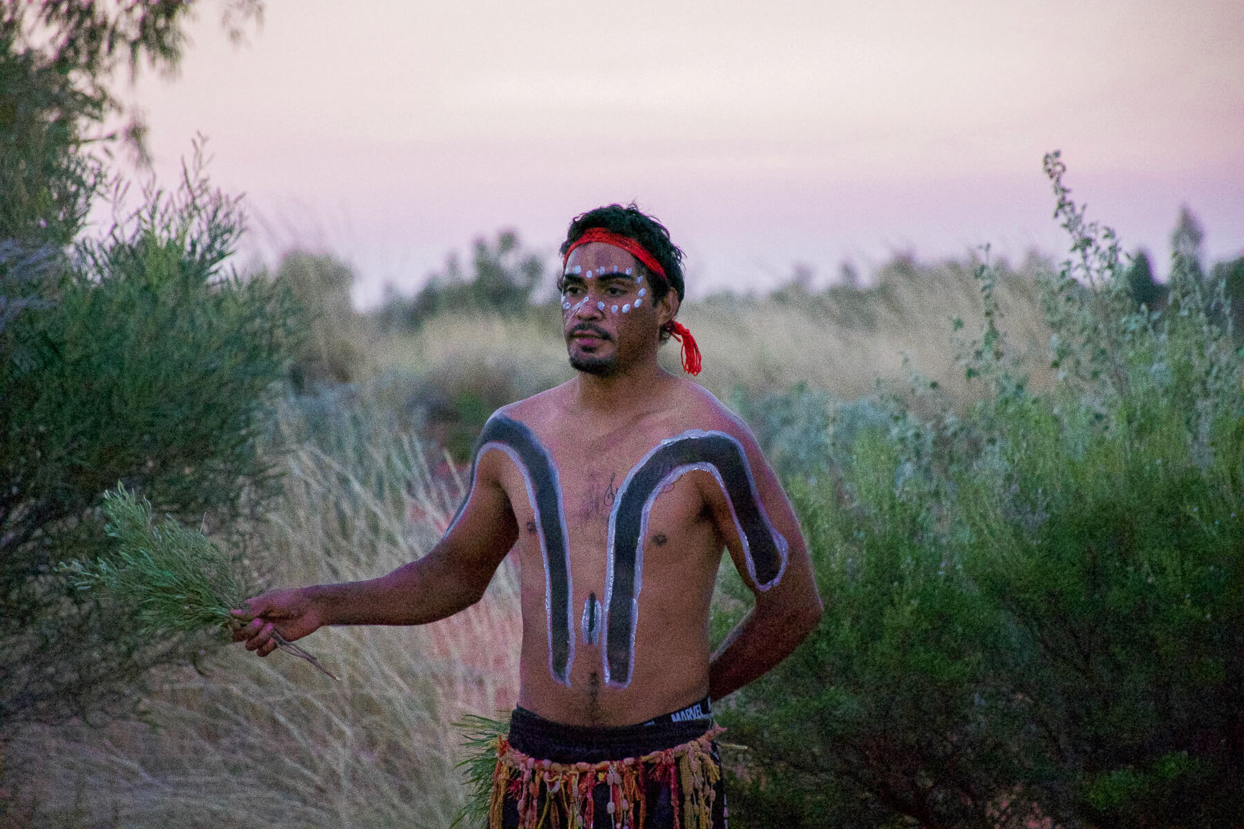 Indigenous man with painted face and body holding a grass shrub