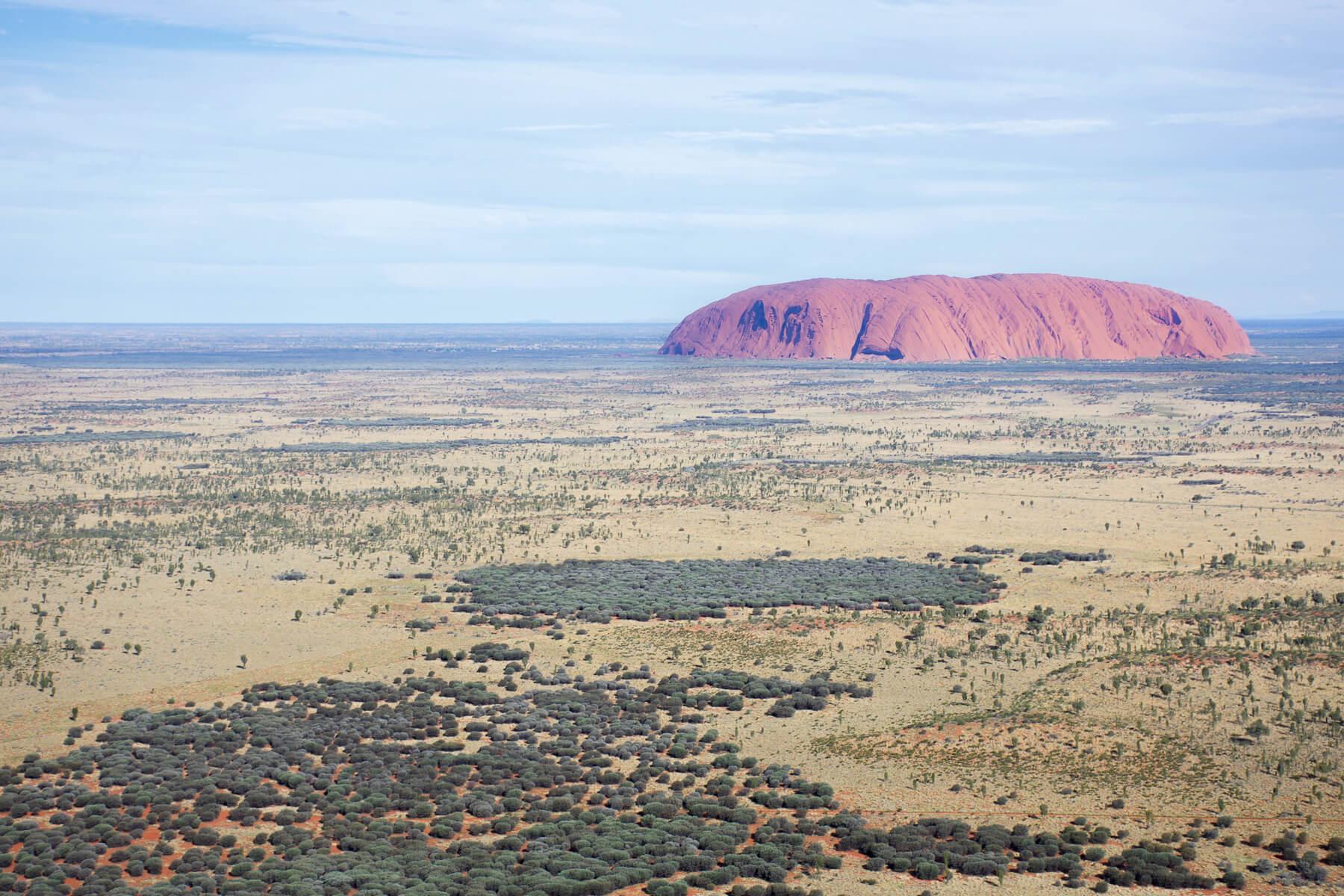 Sky view of Vibrant Uluru