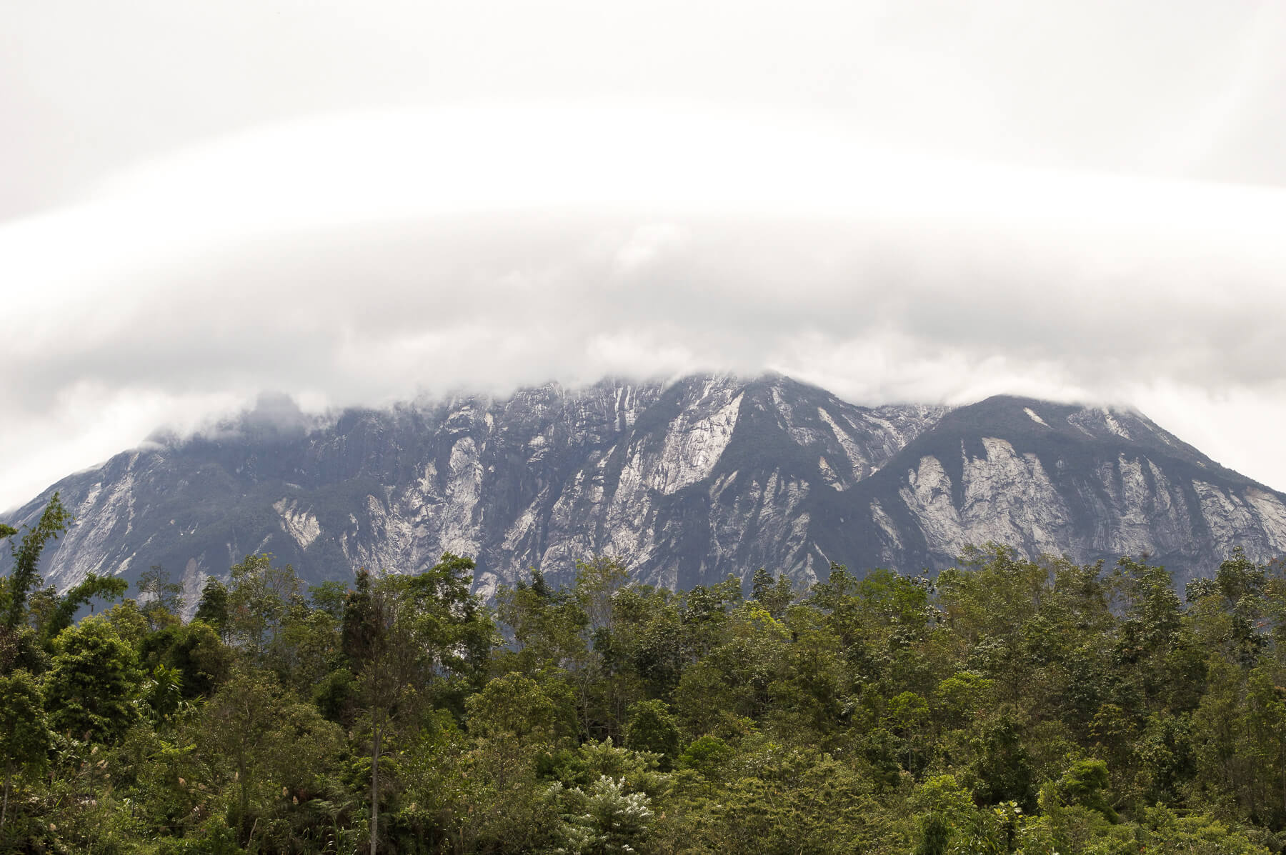 Mount Kinabalu covered in clouds