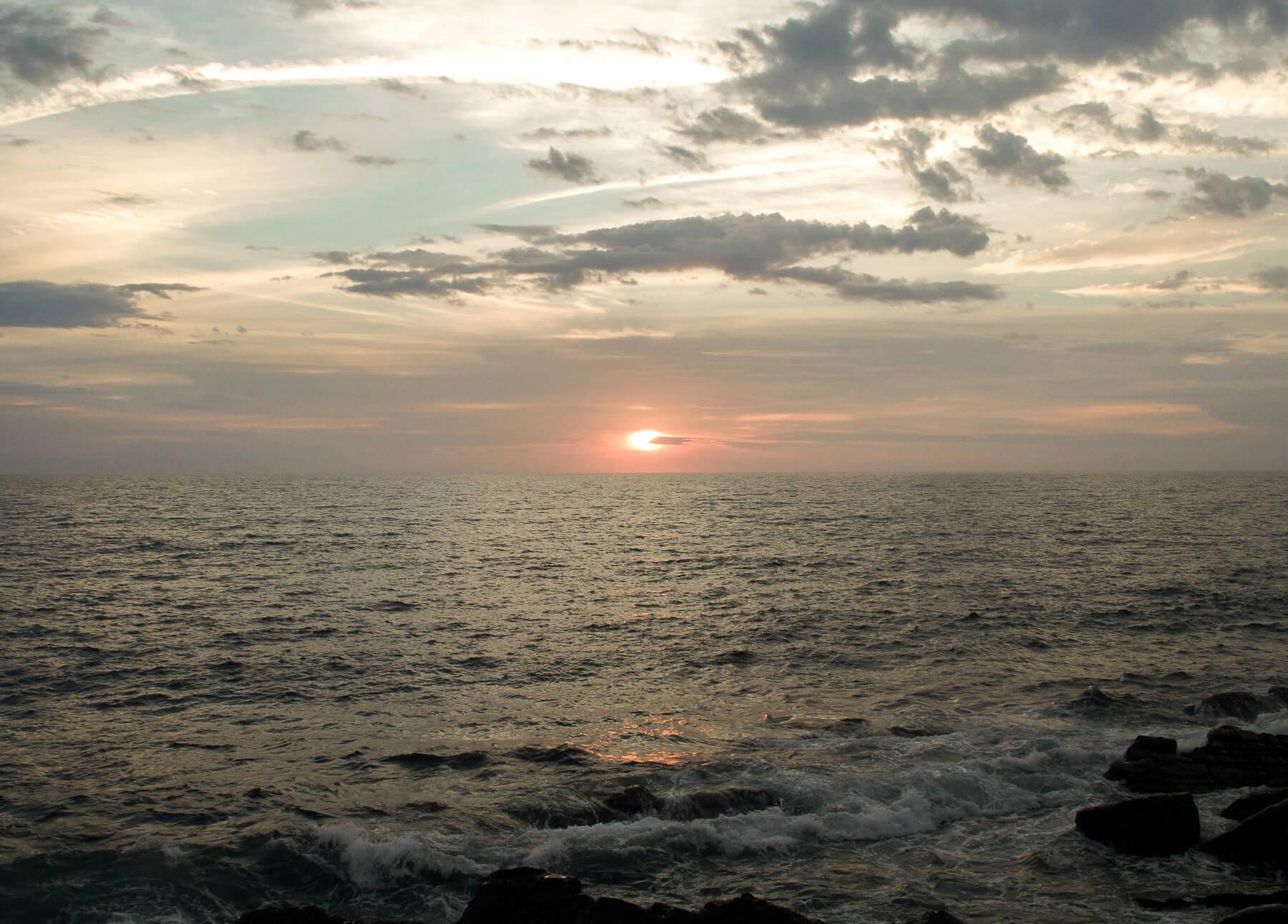 Sun setting behind the ocean!