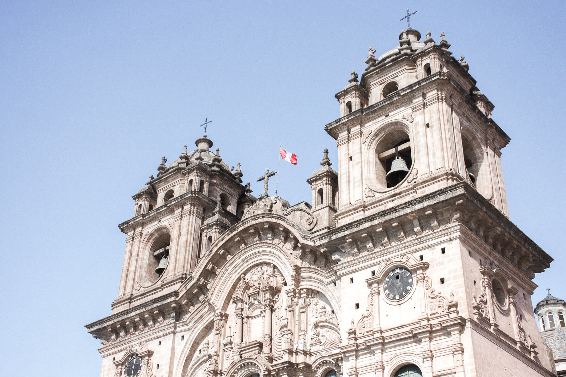 detailed church with Peruvian flag on top
