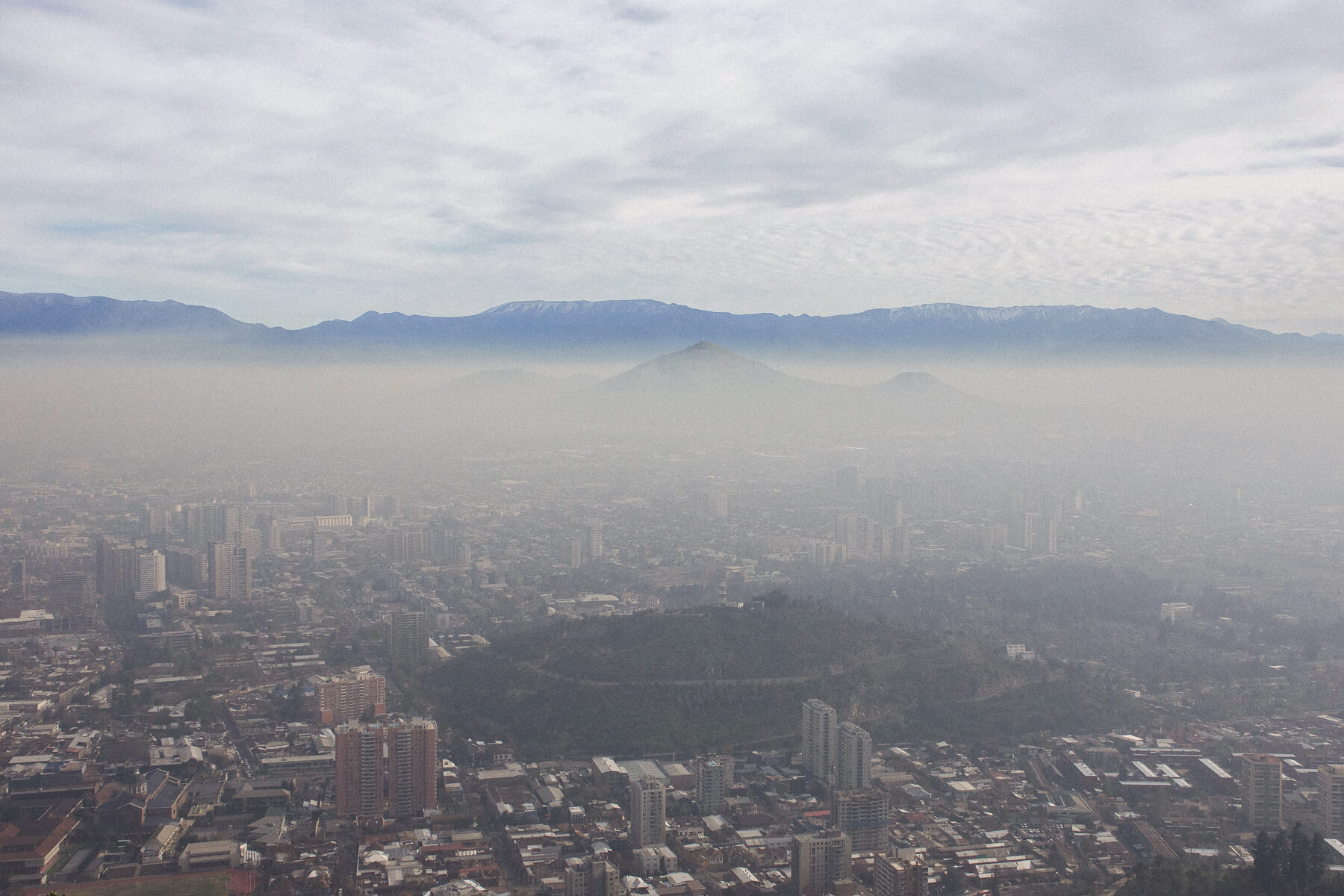 Smog and pollution covering Santiago city