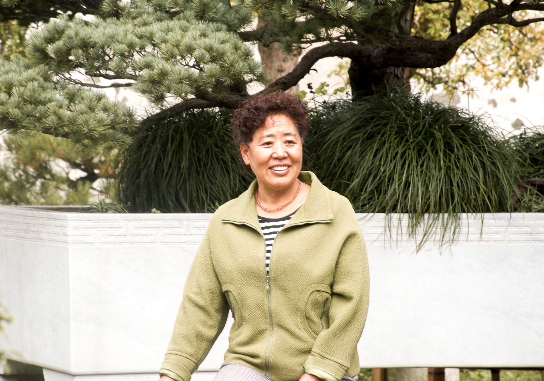 A Chinese woman in a green jumper posing for a photo in front of a huge Bonsai tree