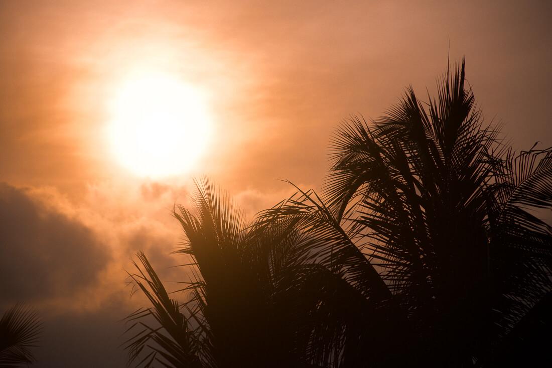 Golden, orange sunset over Port Douglas