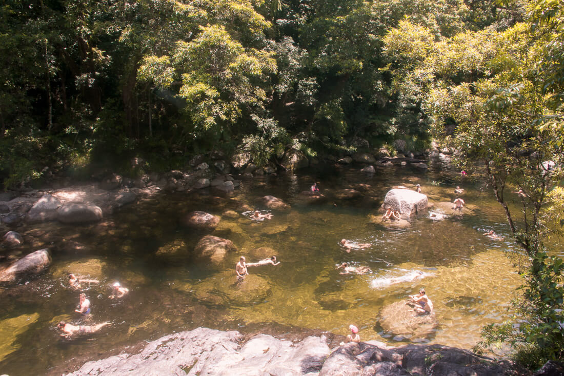 People swimming in the Mossman Gorge swimming hole