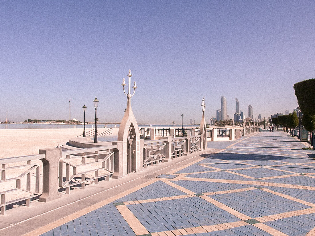 Looking down the corniche pavement road in Abu Dhabi - along the waterfront