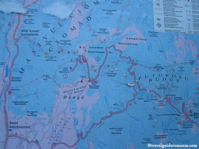 Harta Masivul Ciomatu - Muntii Harghitei