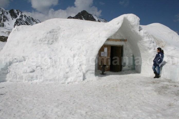 entrance at Ice Hotel at Balea Lac Fagaras mountains