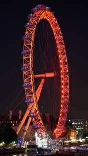 london eye at night red light