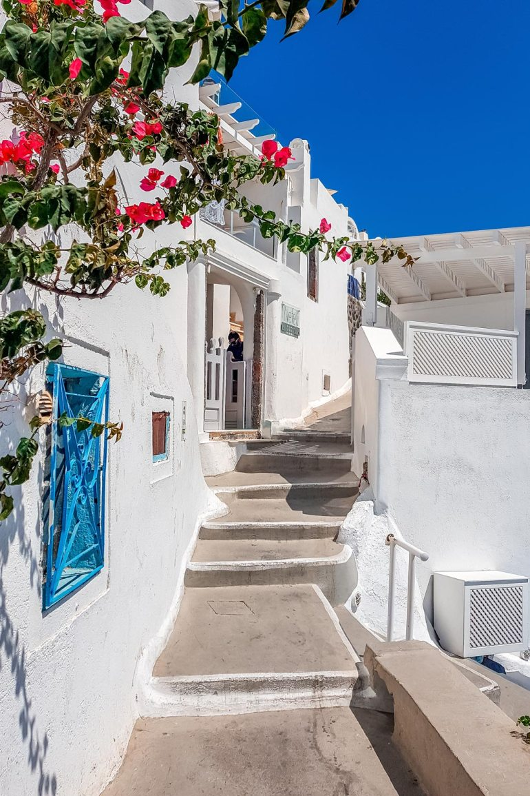 Beautiful White Street in Imerovigli Santorini