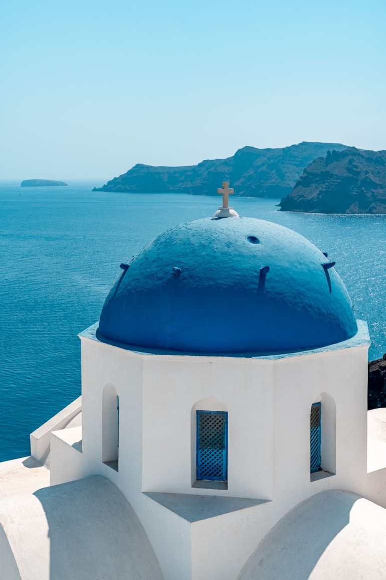 Blue Dome Church Santorini on a Budget