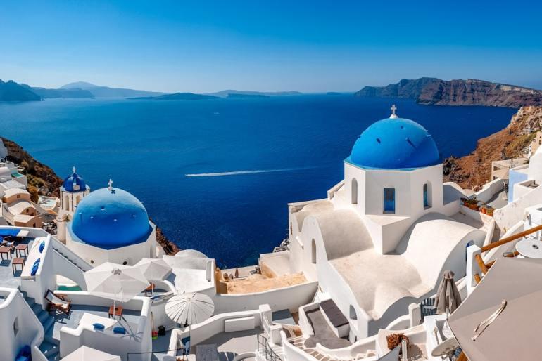 Famous Three Blue Domes in Santorini