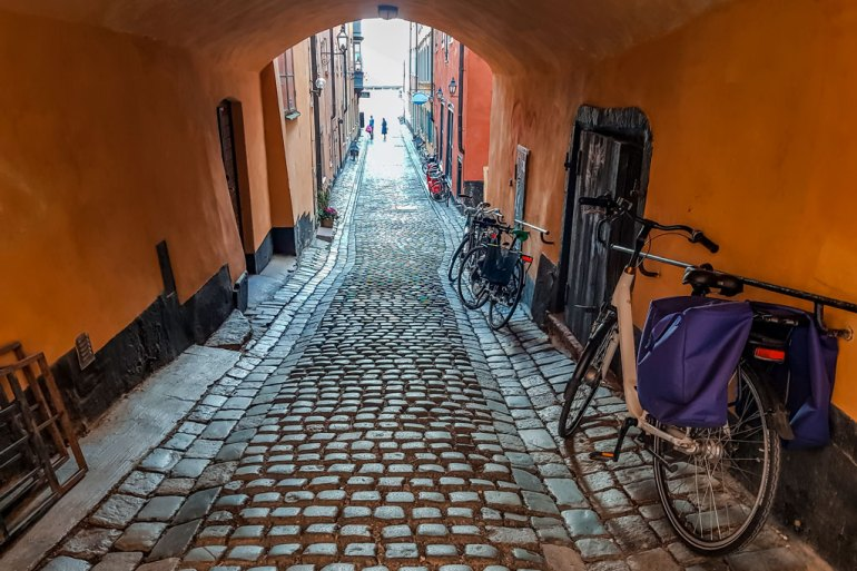 Cobblestone Street in Stockholm Old Town