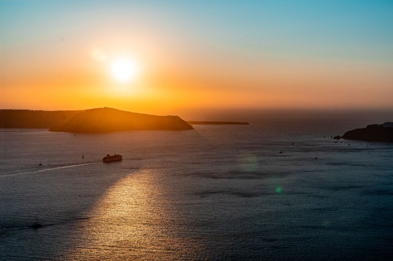 Beautiful Sunset at Imerovigli Greek Island Hoping