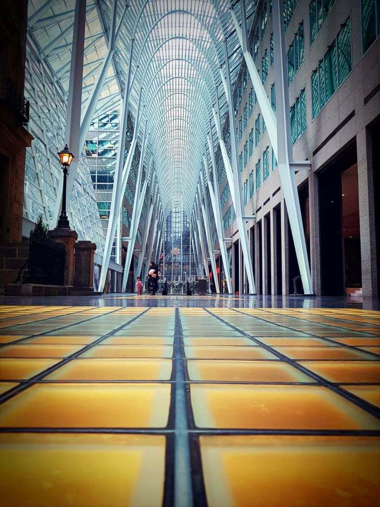 The picture shows the Allan Lambert Galleria at the Brookfield Place.