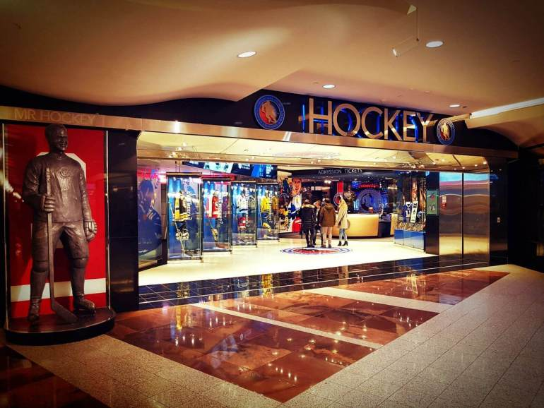 The picture shows the entrance of Hockey Hall of Fame from the PATH Toronto