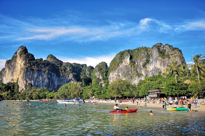 Things to do in Krabi Thailand: Hire a long-tail boat to Railay Beach