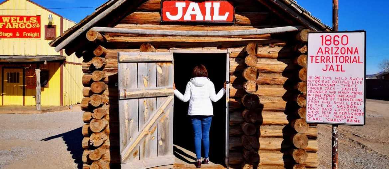 Model of a 1860's territorial jail at Seligman Depot, Arizona
