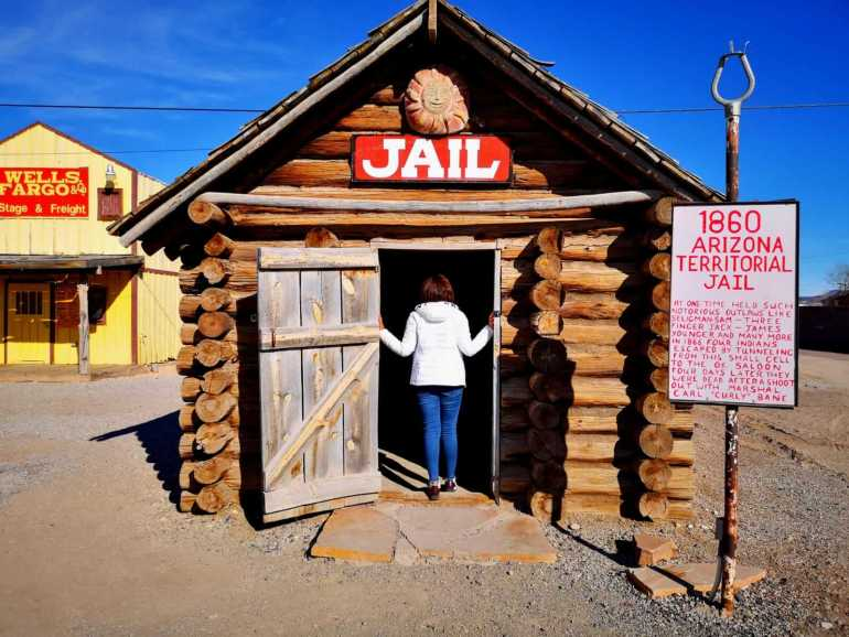 Model of a 1860's territorial jail at Seligman Depot, Arizona