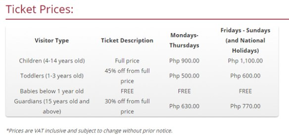 KidZania Manila ticket prices