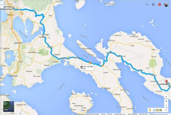 motorcycle manila to naga route map
