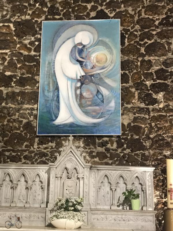 Murs en pierre des landes et tableau église saint martin biscarrosse