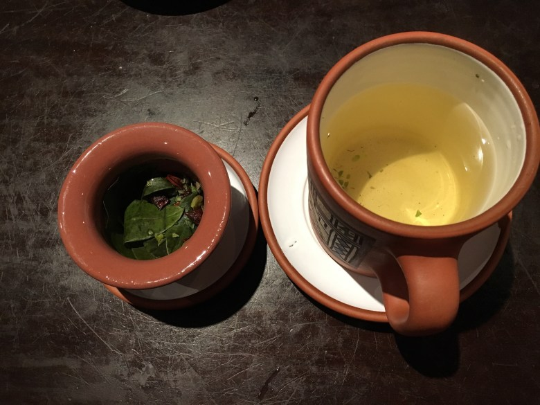Coca tea in Cusco, Peru