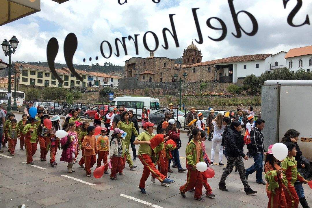 Parade in the center of Cusco, Peru