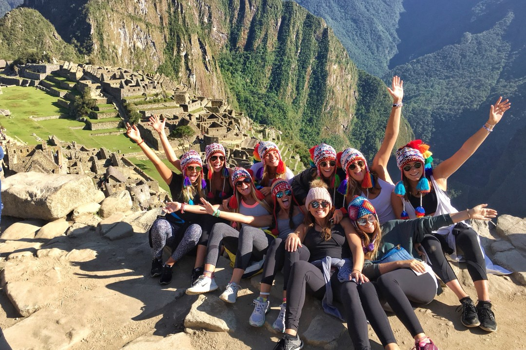 Tourists in Machu Picchu, Peru.