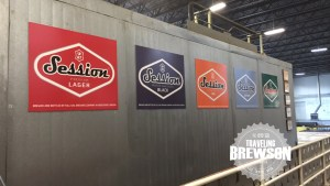 Session Signs inside of the brewery, a lot of awards and their company logos throughout the tour.