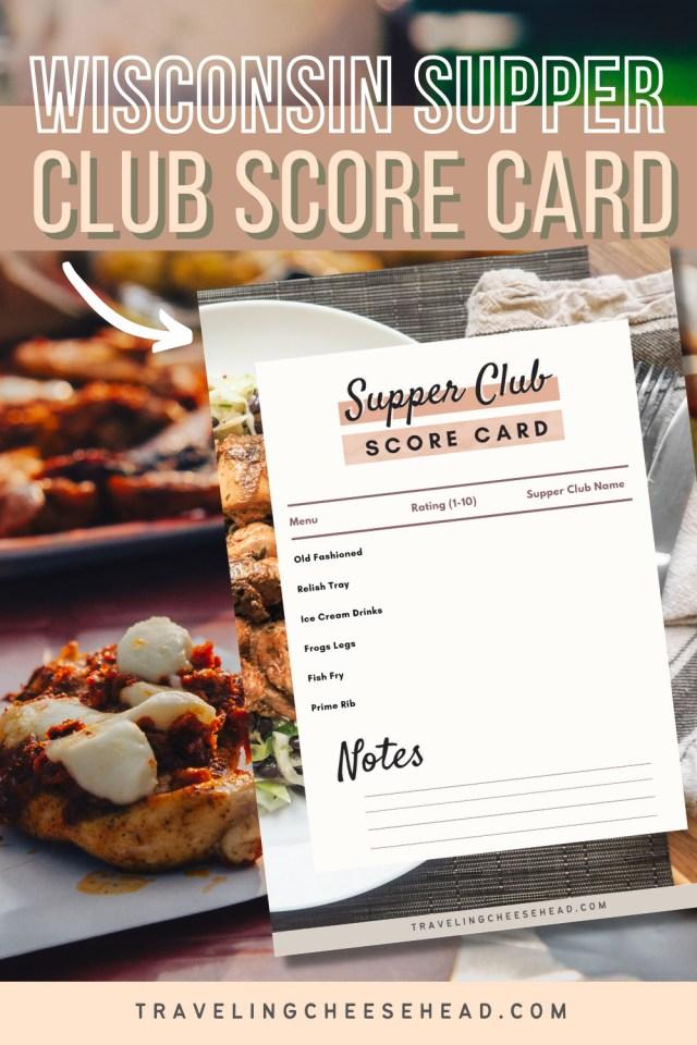 Wisconsin Supper Club Score Card