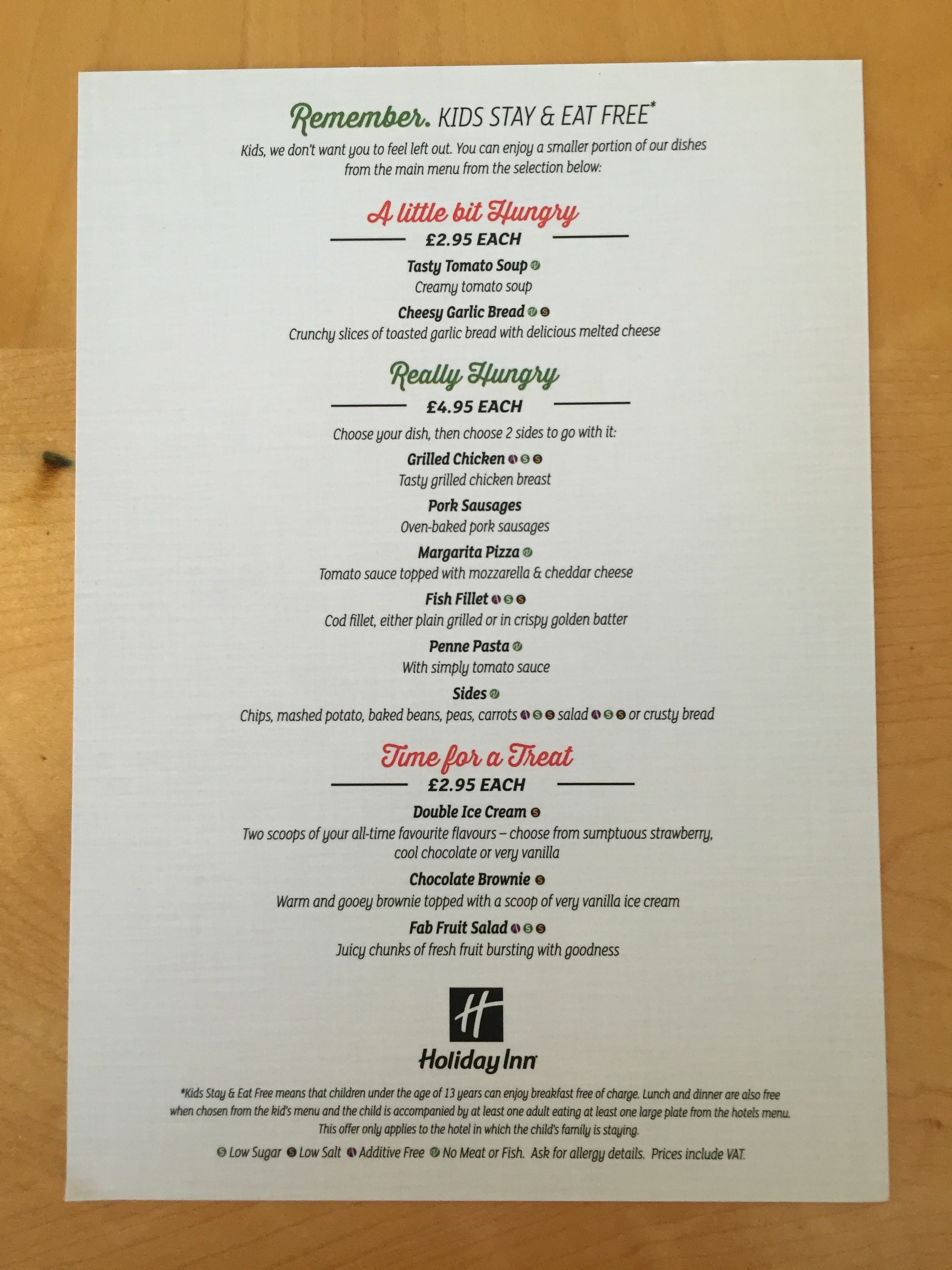 Holiday Inn Ariel Restaurant Menu
