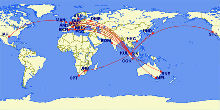 Singapore Airlines A350 Routes