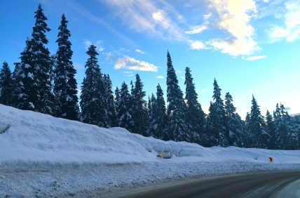 The kind of skies you hope for driving up the mountain.