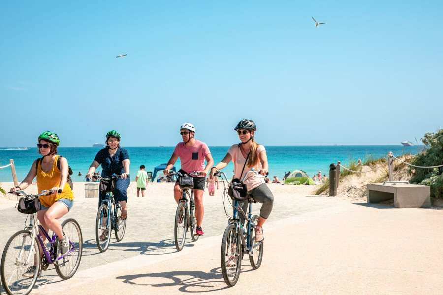 Tourists biking at Miami Beach, United States