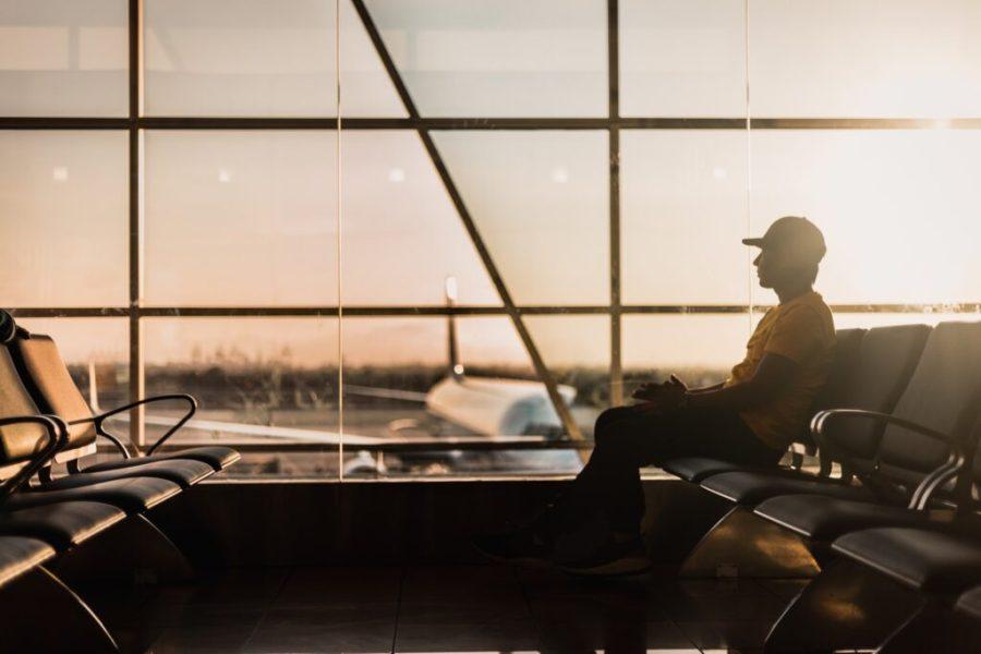 traveler waiting for the flight