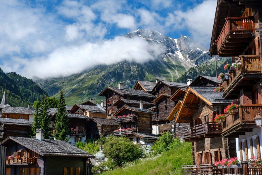 village in swiss mountains