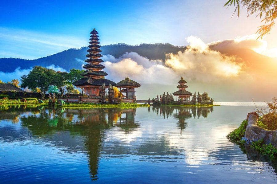 beautiful bali temple on the lake